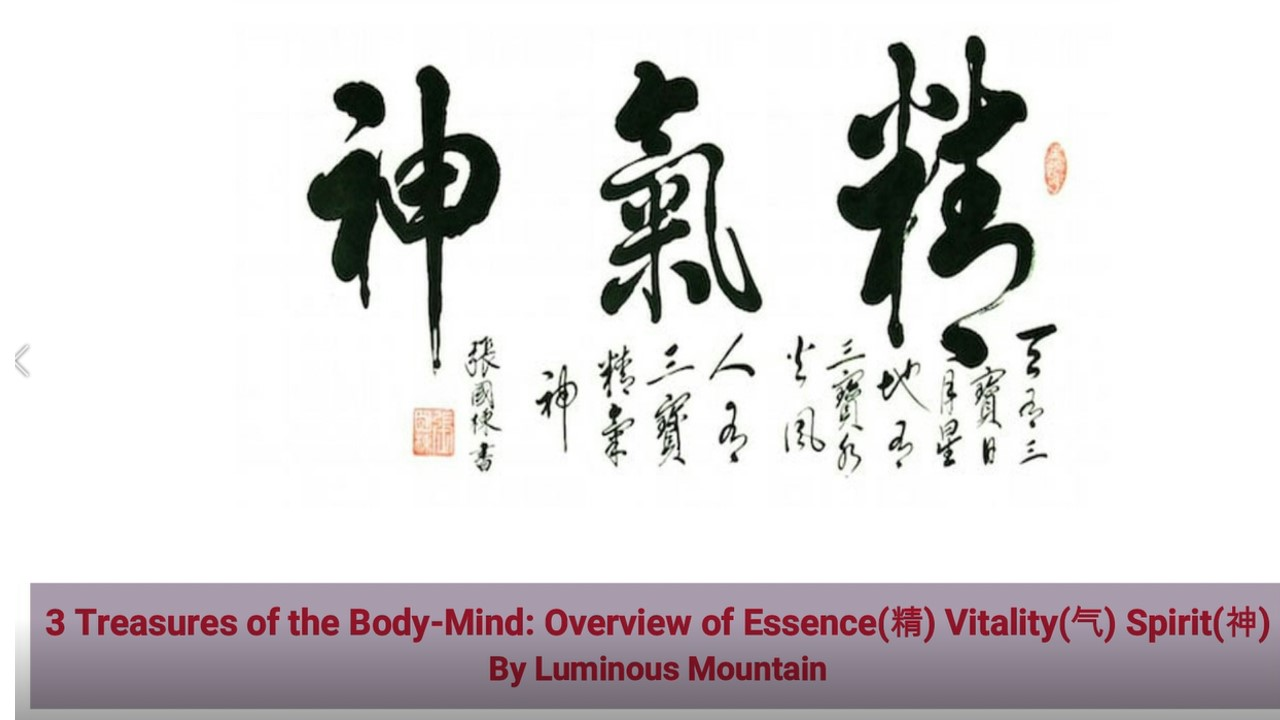 3 Treasures of the Body-Mind: Overview of Essence(精) Vitality(气) Spirit(神) By Luminous Mountain